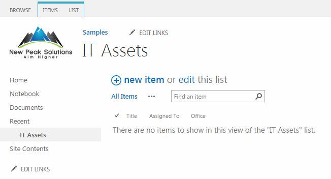 SharePoint List It Assets