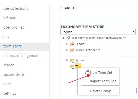 SharePoint Metadata New Term Set