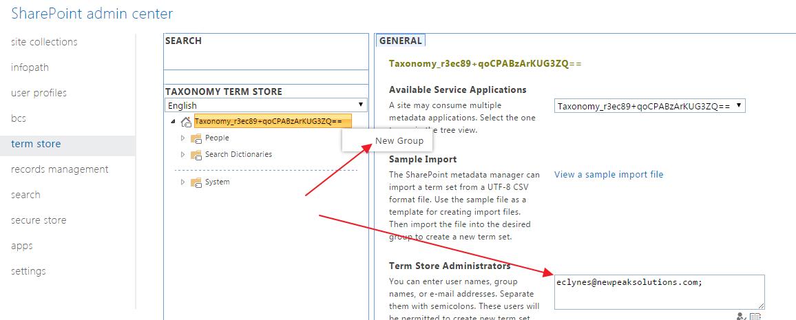 SharePoint Metadata Taxonomy Term Store
