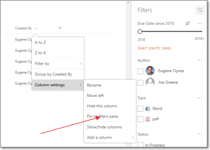 SharePoint Filters Pane - Add column to pane