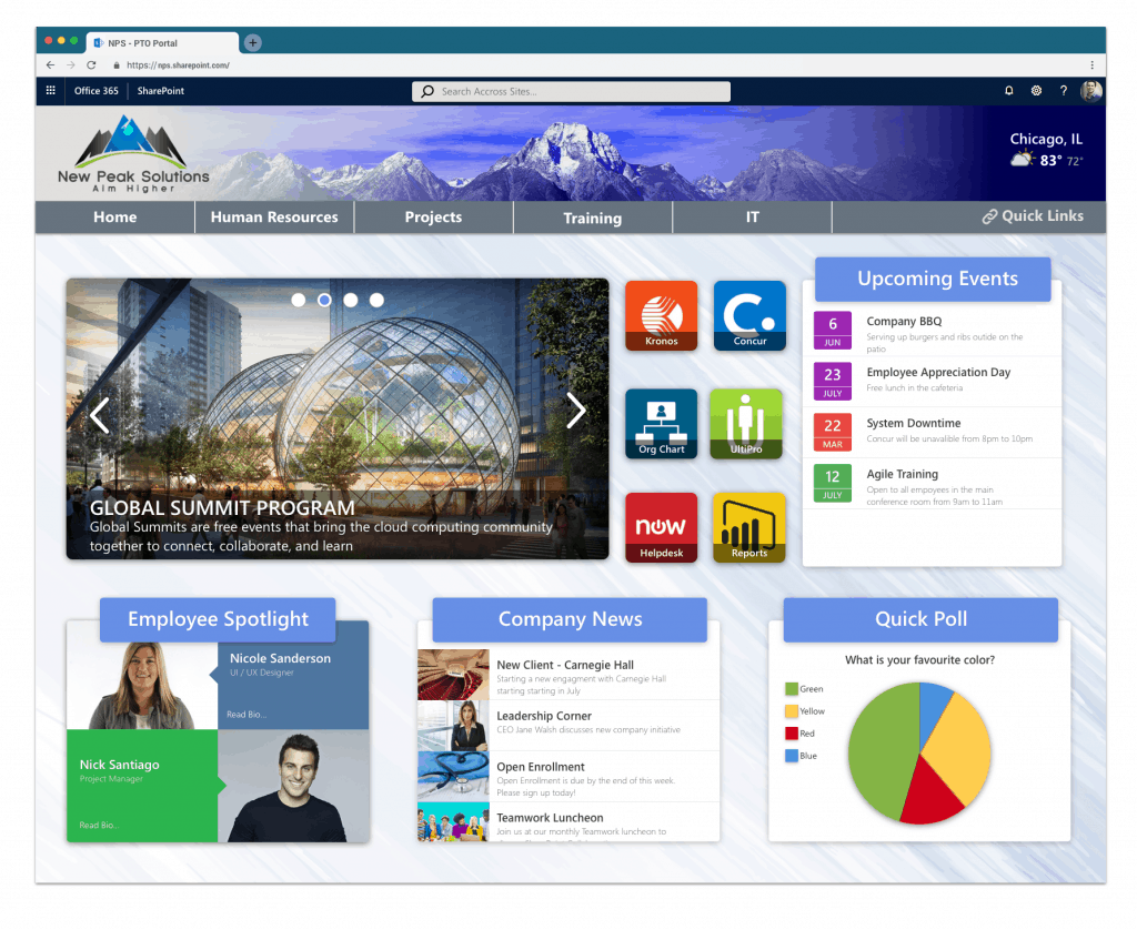 sharepoint intranet development - One of our many examples